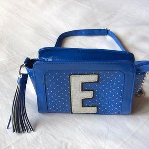Girls Justice blue sparkle E adjustable strap bag